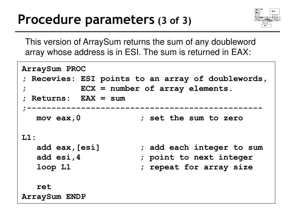 Procedure parameters