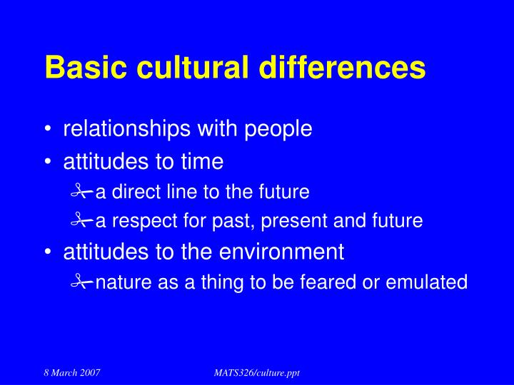 Basic cultural differences