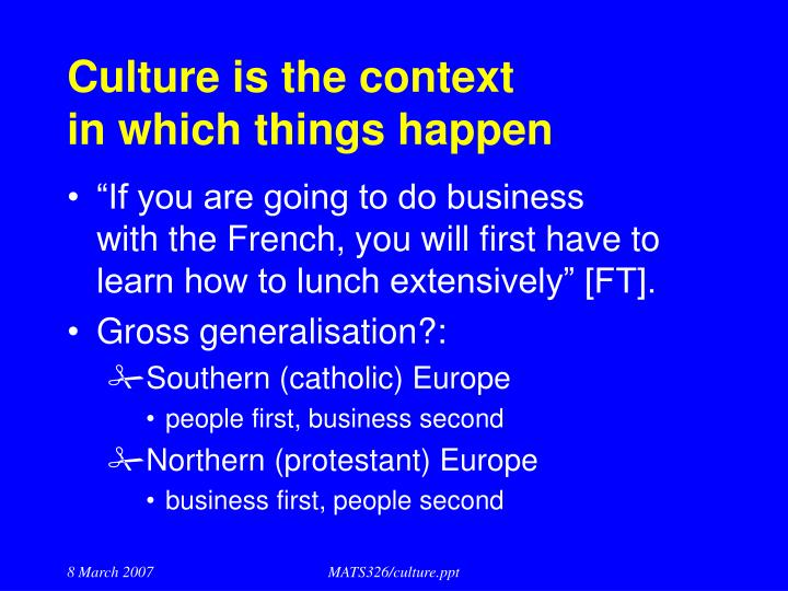 Culture is the context