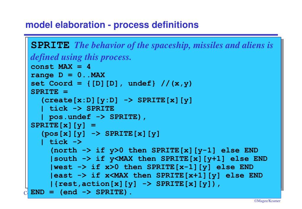 model elaboration - process definitions