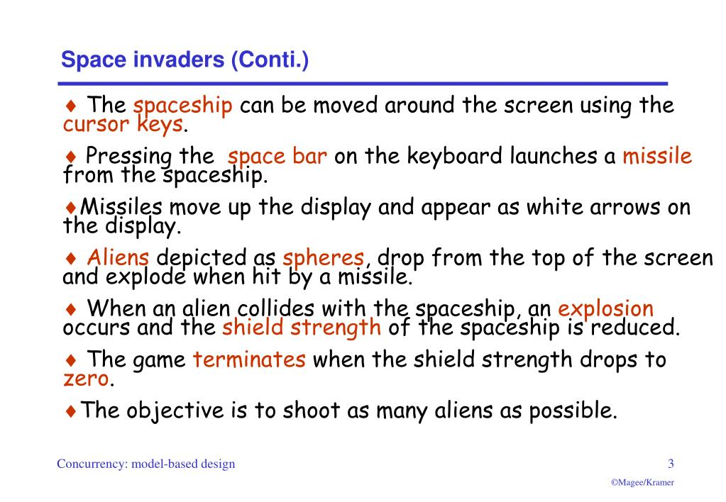 Space invaders (Conti.)
