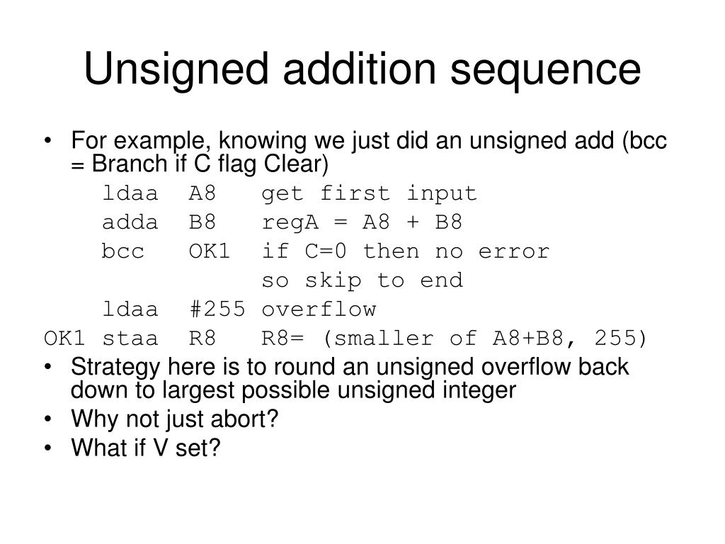 Unsigned addition sequence