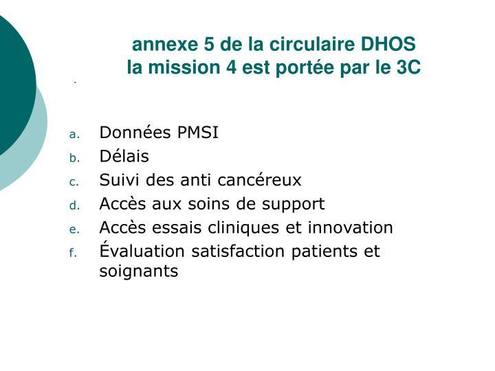 annexe 5 de la circulaire DHOS