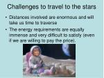 challenges to travel to the stars