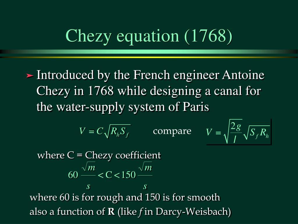 Chezy equation (1768)