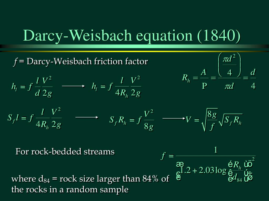Darcy-Weisbach equation (1840)