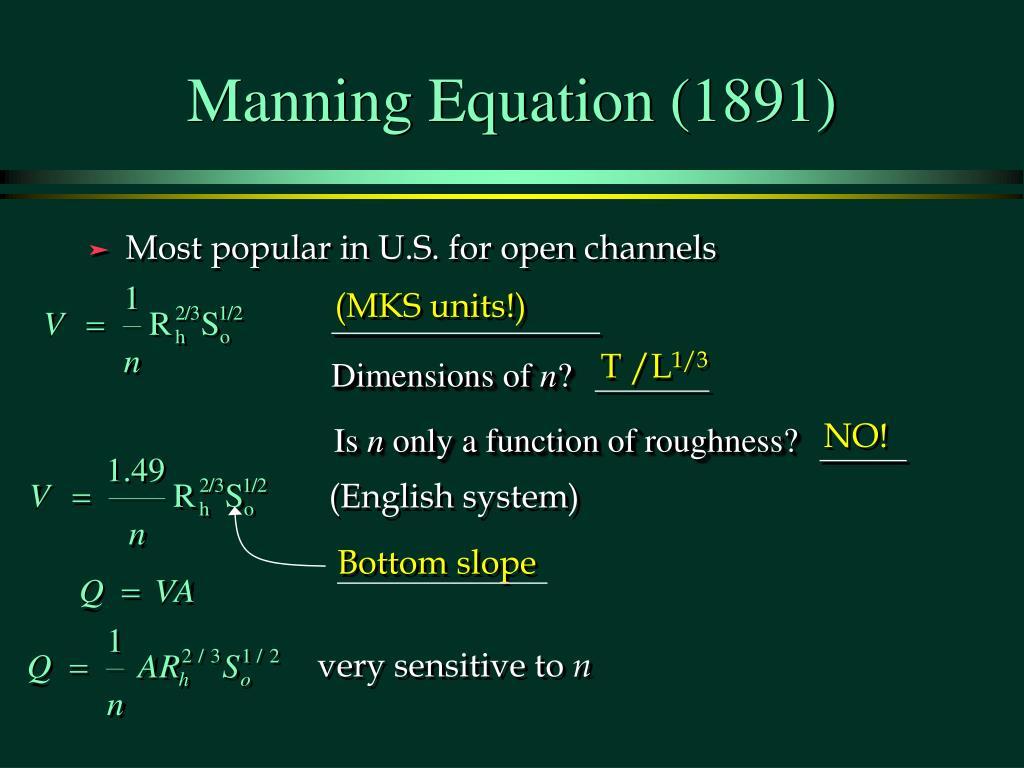 Manning Equation (1891)