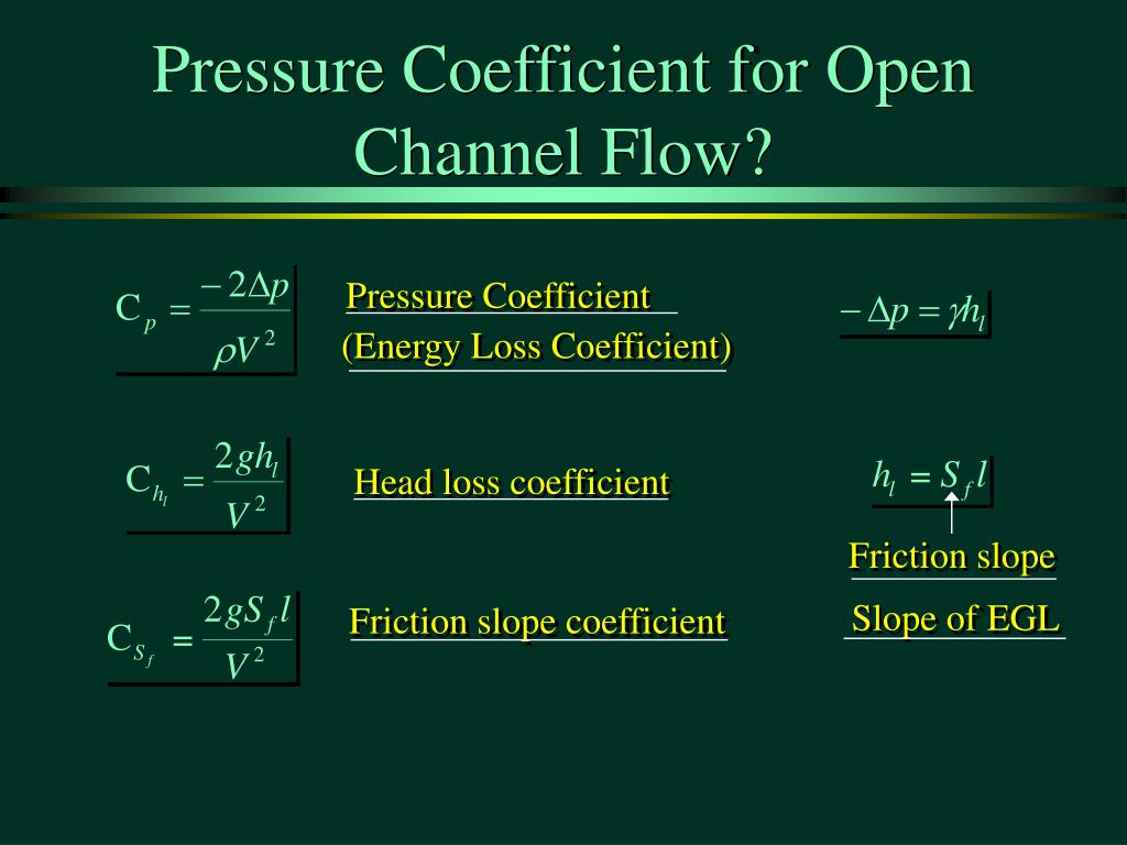 Pressure Coefficient for Open Channel Flow?