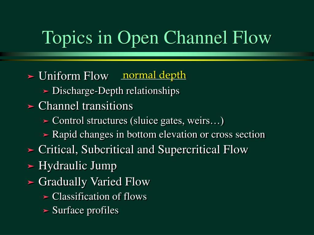 Topics in Open Channel Flow