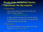 result of the michelson morley experiment the big surprise
