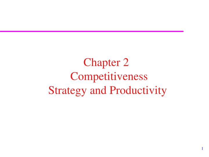 strategy competitivenes and productivity