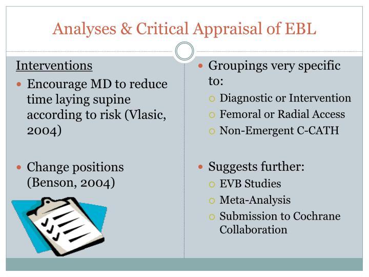 Analyses & Critical Appraisal of EBL