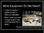 what equipment do we need