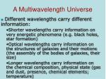 a multiwavelength universe