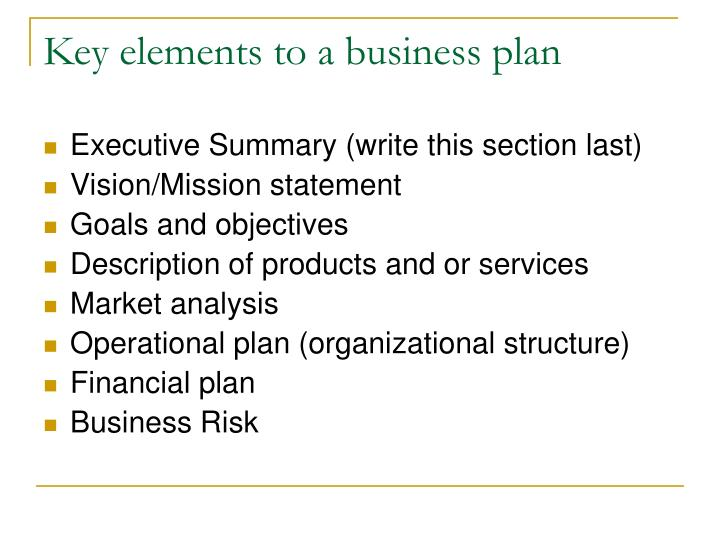 Key elements to a business plan
