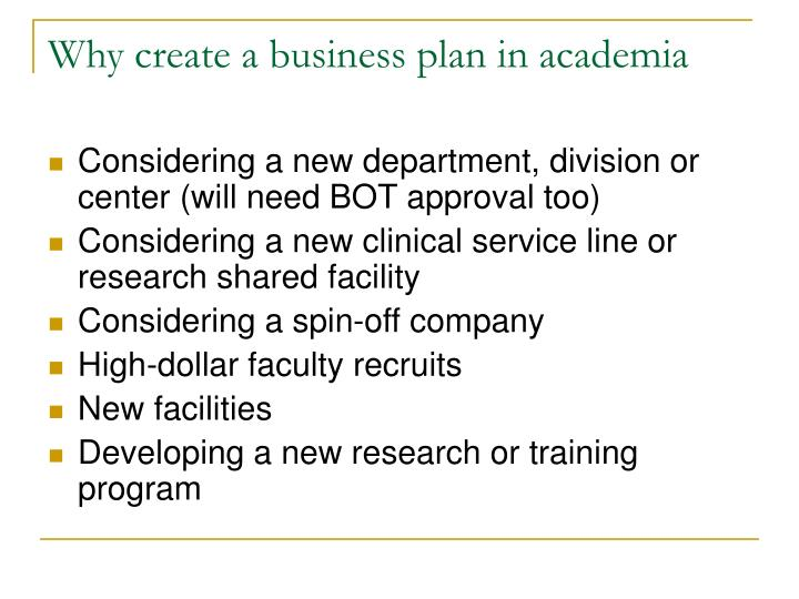 Why create a business plan in academia
