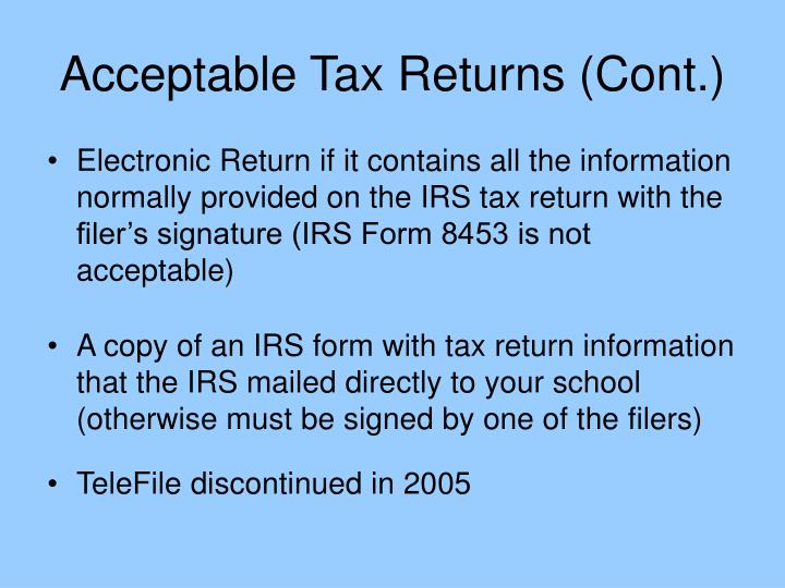 Acceptable Tax Returns (Cont.)