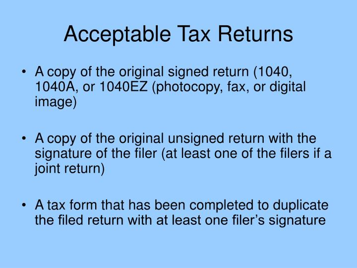 Acceptable Tax Returns