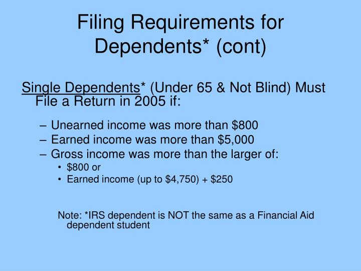Filing Requirements for Dependents* (cont)
