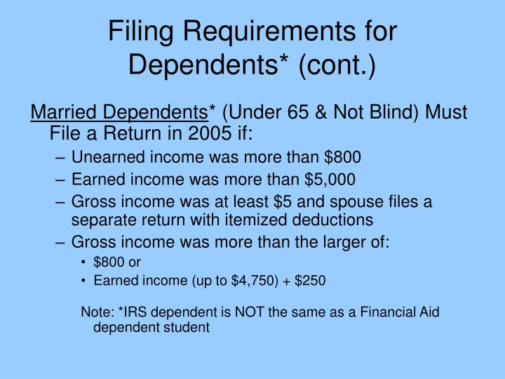Filing Requirements for Dependents* (cont.)