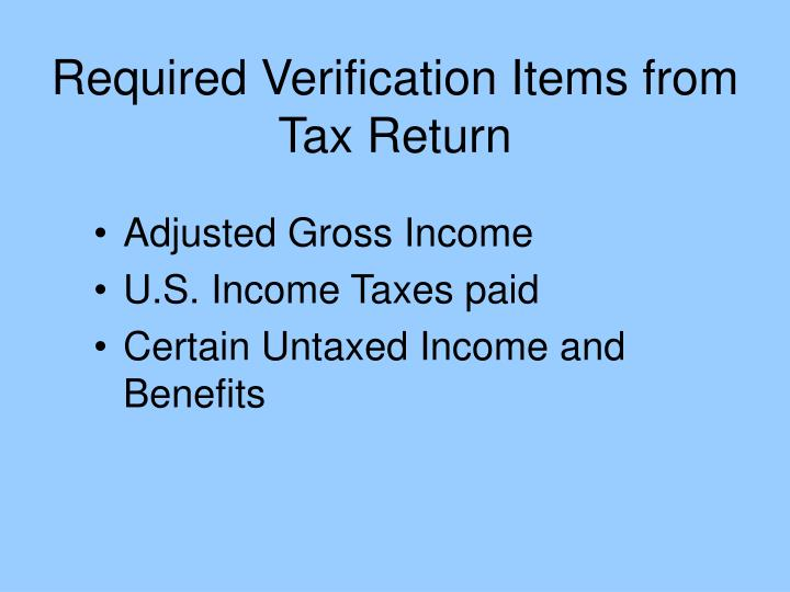 Required verification items from tax return