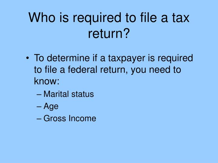 Who is required to file a tax return?