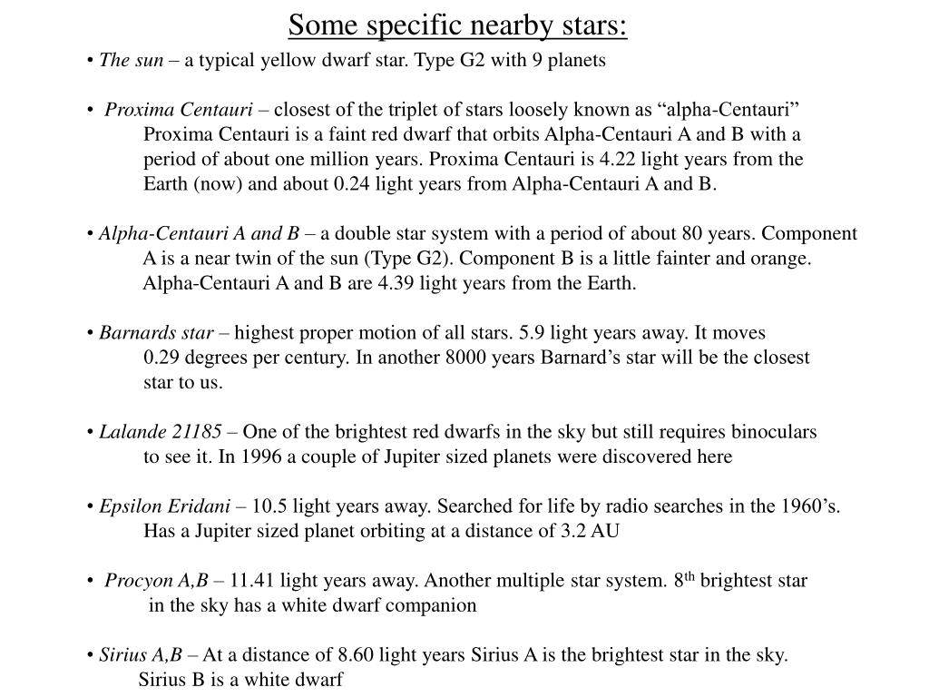 Some specific nearby stars:
