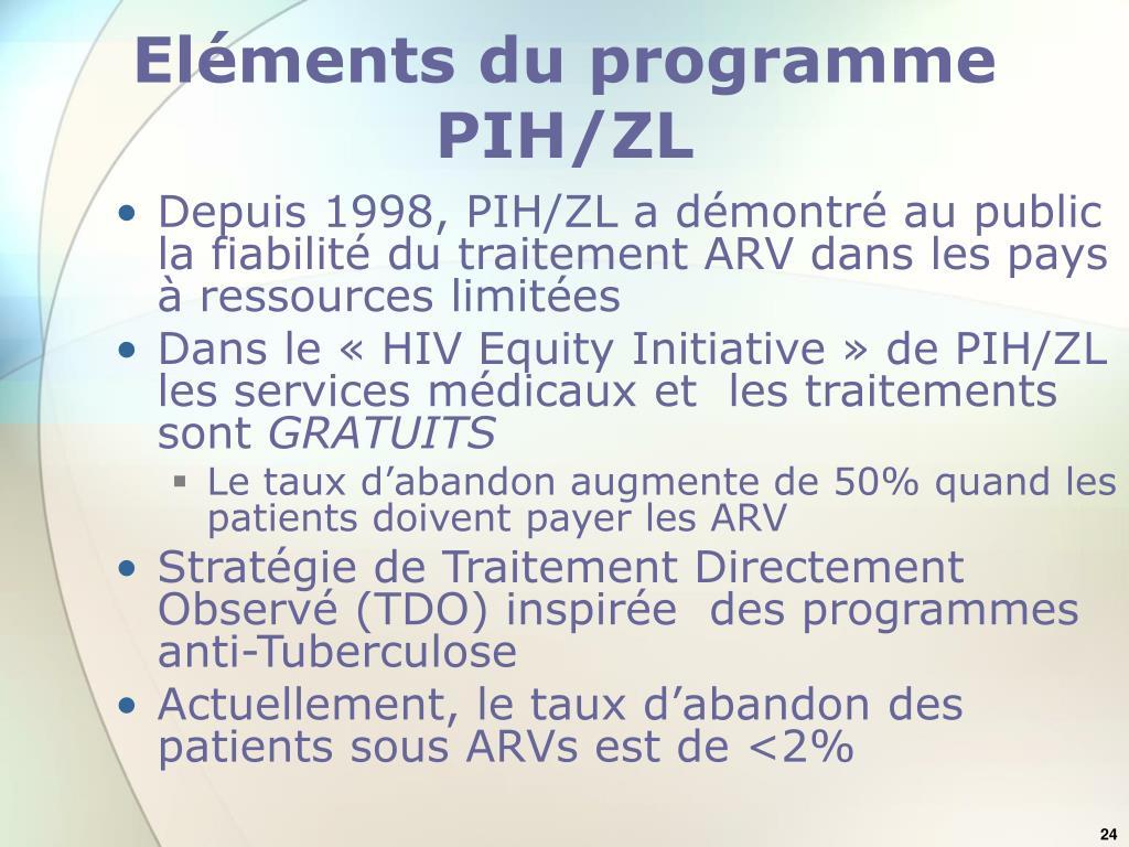 Eléments du programme PIH/ZL