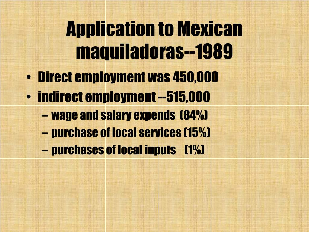 Application to Mexican maquiladoras--1989
