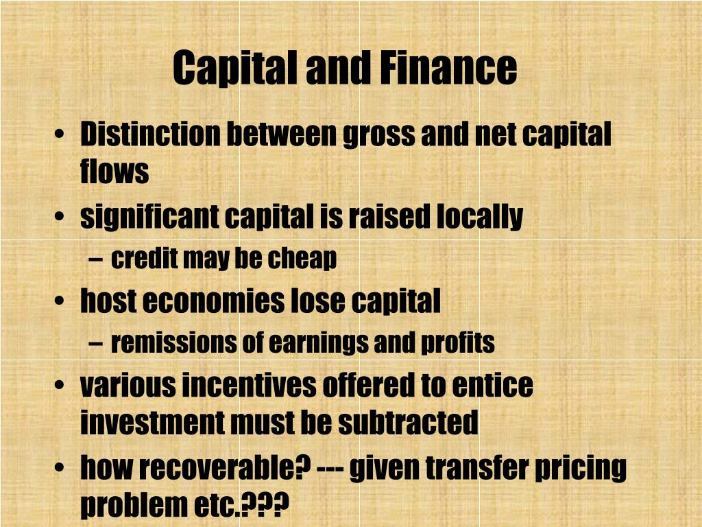 Capital and Finance
