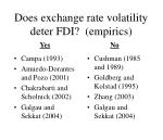 does exchange rate volatility deter fdi empirics