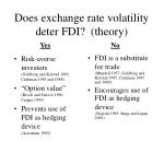 does exchange rate volatility deter fdi theory