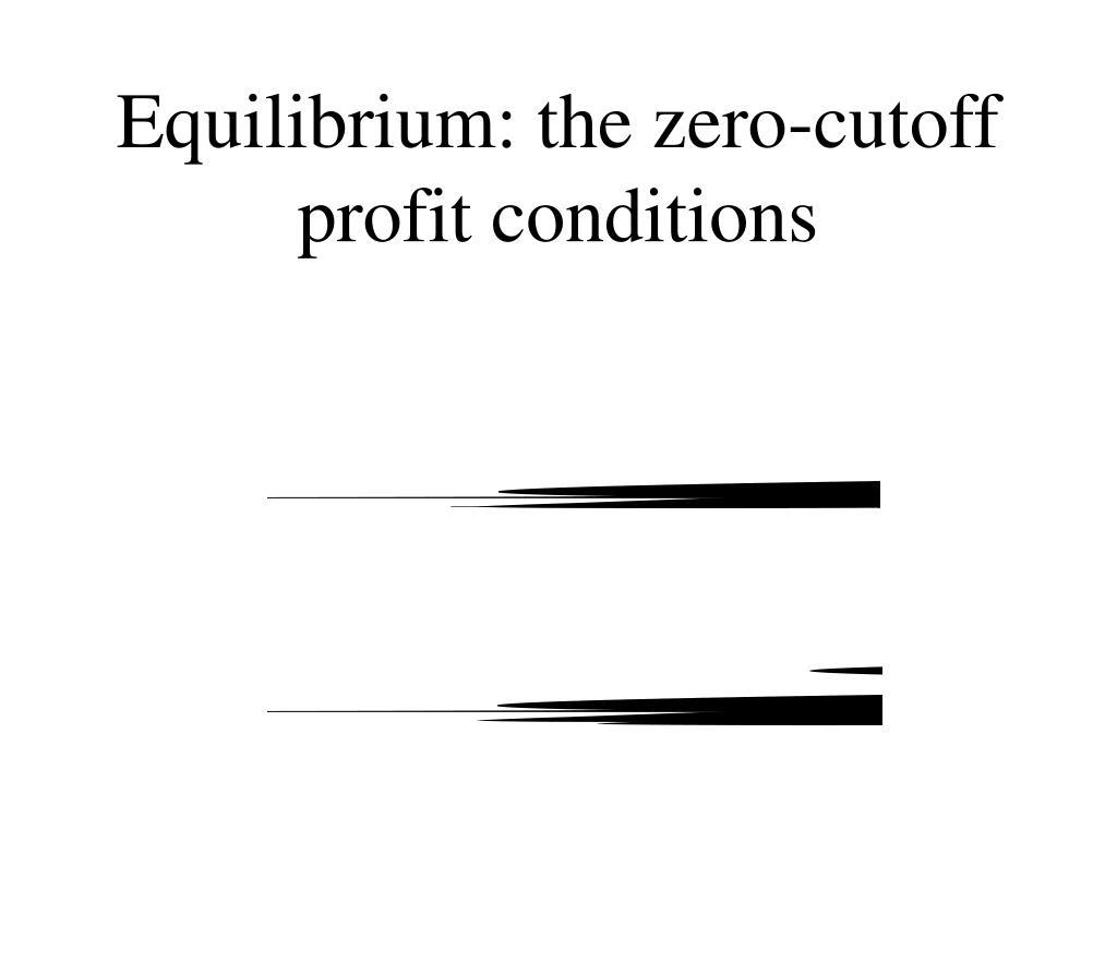 Equilibrium: the zero-cutoff profit conditions