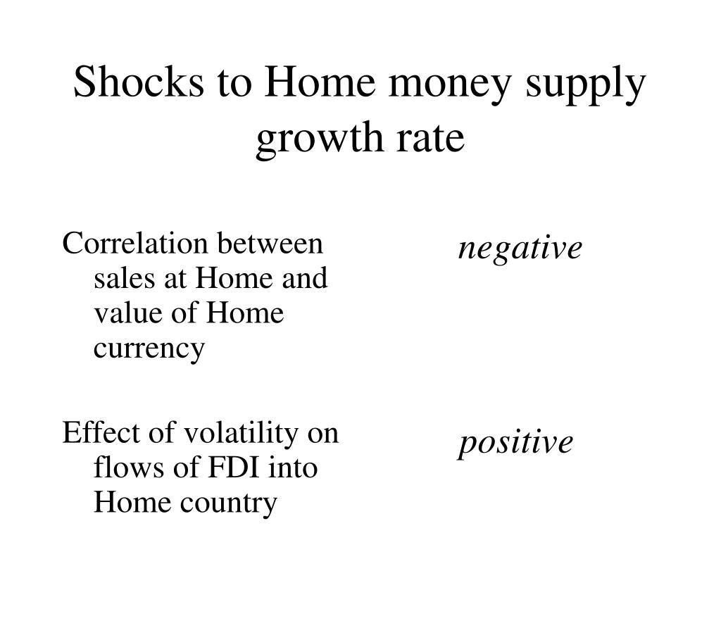 Correlation between sales at Home and value of Home currency