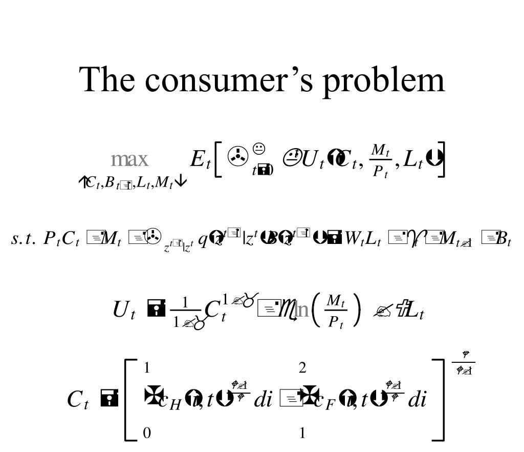 The consumer's problem