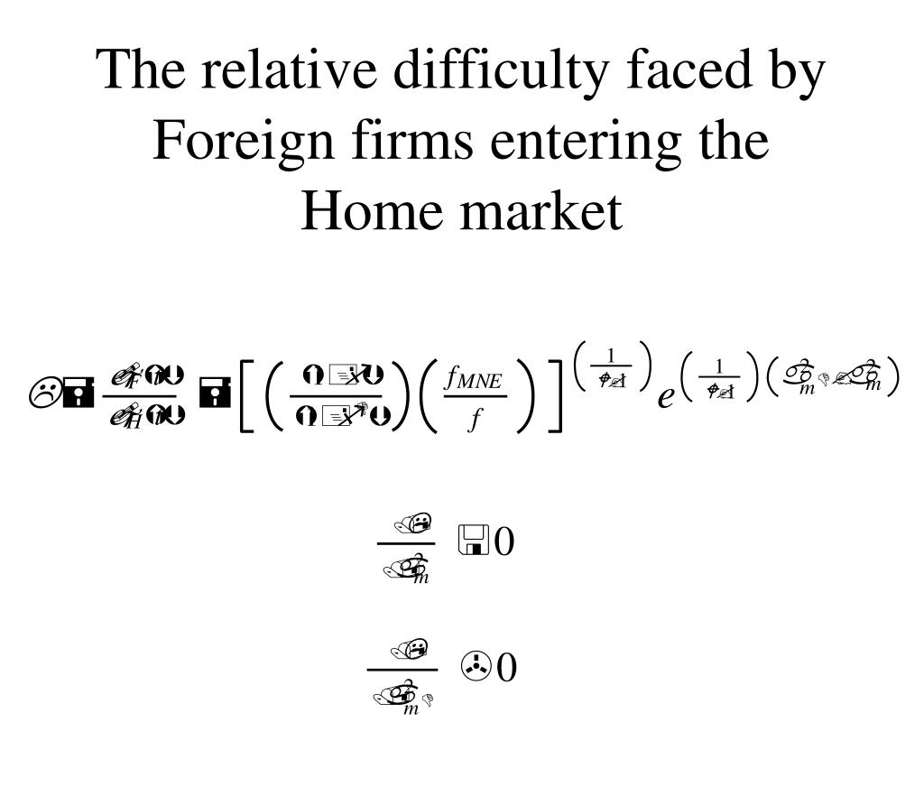 The relative difficulty faced by Foreign firms entering the Home market