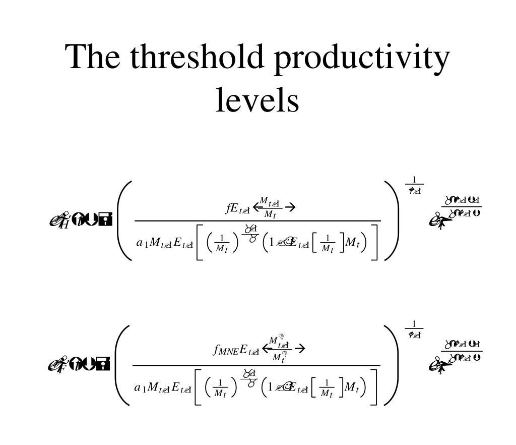 The threshold productivity levels
