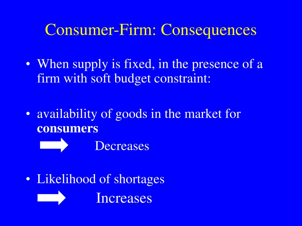 Consumer-Firm: Consequences