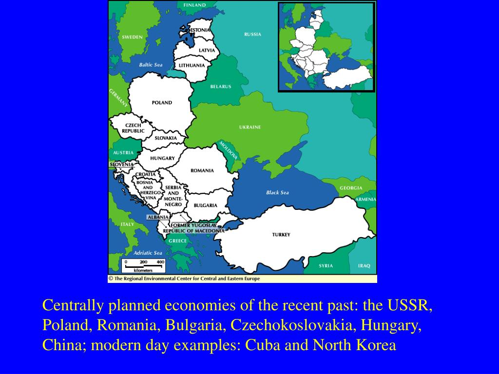 Centrally planned economies of the recent past: the USSR, Poland, Romania, Bulgaria, Czechokoslovakia, Hungary, China; modern day examples: Cuba and North Korea