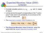 expected monetary value emv criterion
