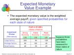 expected monetary value example