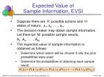expected value of sample information evsi