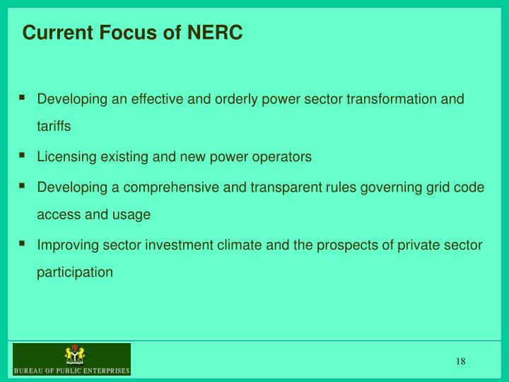 Current Focus of NERC