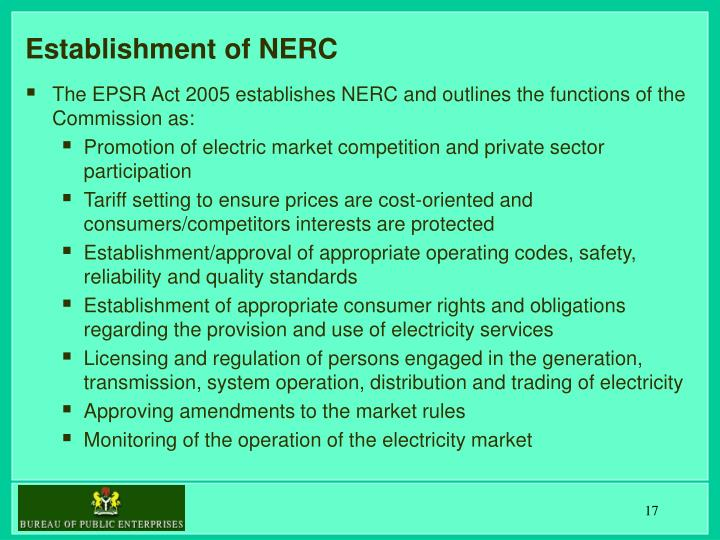 Establishment of NERC