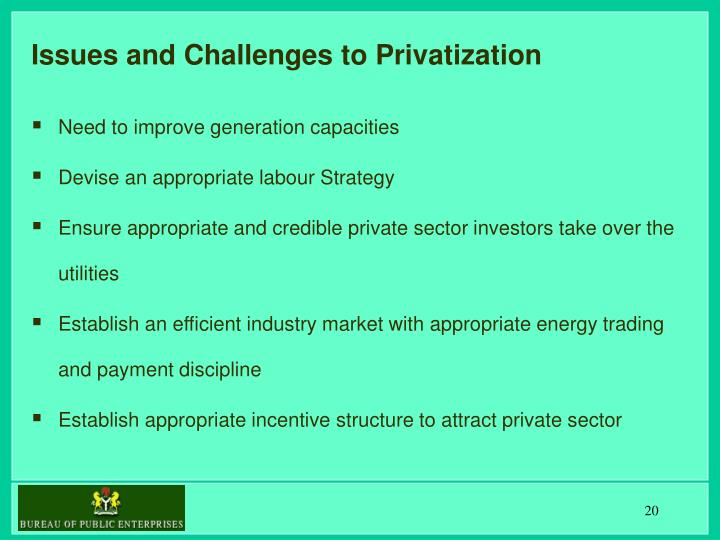 Issues and Challenges to Privatization