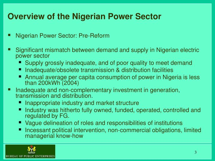 Overview of the nigerian power sector