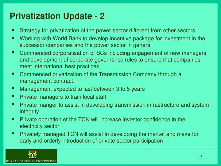 Privatization Update - 2