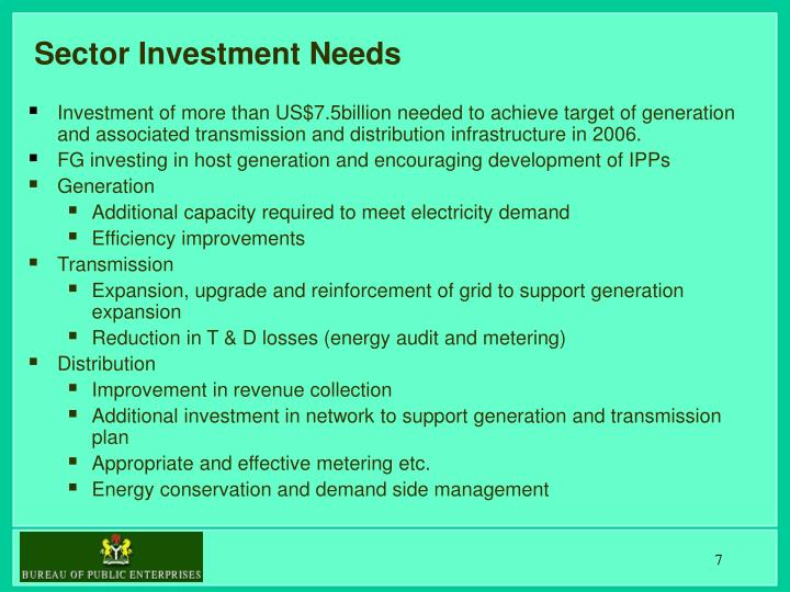 Sector Investment Needs