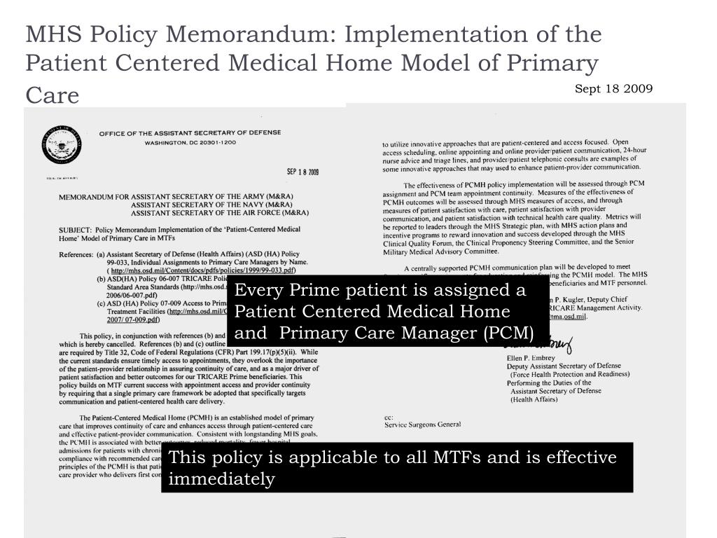 MHS Policy Memorandum: Implementation of the Patient Centered Medical Home Model of Primary Care