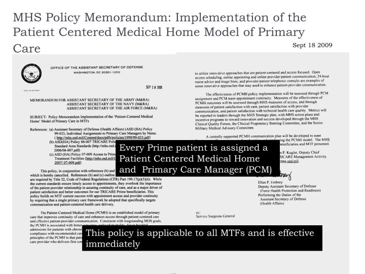 Mhs policy memorandum implementation of the patient centered medical home model of primary care